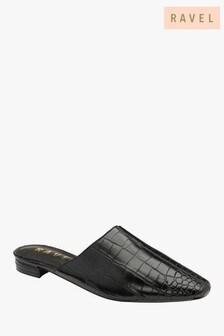 Ravel Croc Print Mule Sandals