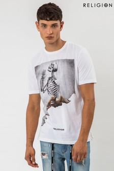 Religion Burned Skeleton Graphic T-Shirt