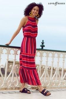 Love & Roses Patched Stripe Halter Midi Dress