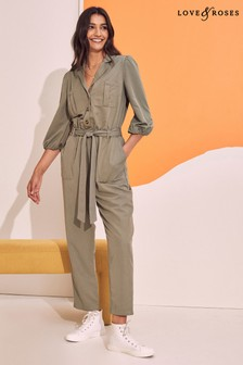 Love & Roses Puff Sleeve Utility Jumpsuit