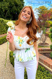 In The Style Stacey Solomon Lemon Print Puff Sleeve Top
