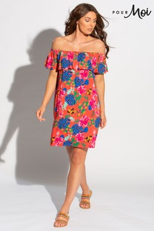 Pour Moi Woven Bardot Beach Dress