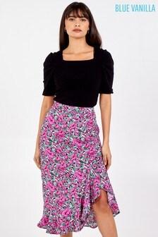 Blue Vanilla Asymmetric Ruffle Hem Midi Skirt