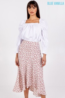 Blue Vanilla Asymmetric Seam Midi Skirt