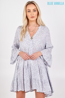 Blue Vanilla High Low Tiered Smock Tunic