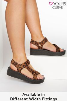 Yours Leopard Print Sporty Platform Sandals In Extra Wide Fit