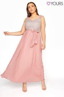 Yours Sleeveless Crochet Overlay Maxi Dress