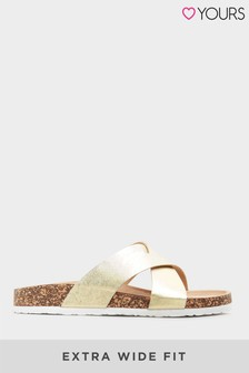 Yours Cross Strap Sandals In Extra Wide Fit