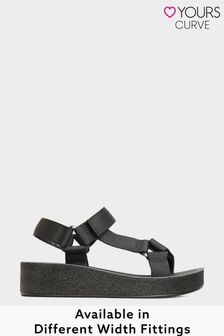 Yours Sporty Mid Platform Sandals In Extra Wide Fit