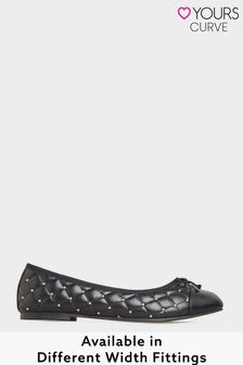 Yours Quilted Studded Ballet Pumps In Extra Wide Fit