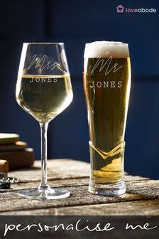 Personalised Wine and Beer Glass by Loveabode