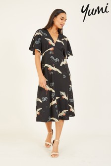 Yumi Crane Print 'Diana' Midi Dress