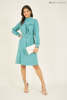 Mela London High Neck Belted Tea Dress With Long Sleeve