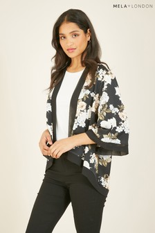 Mela London Floral Satin Short Length Kimono