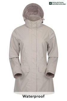 Mountain Warehouse Glacial Womens Long Waterproof Jacket with Detachable Hood