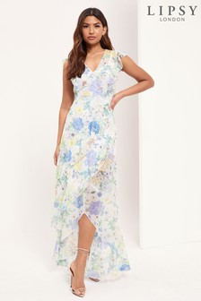 Lipsy Printed V Neck Maxi Dress