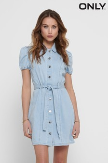 Only Puff Sleeve Belted Denim Dress