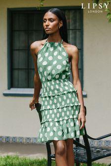 Lipsy Shirred Halter Mini Dress