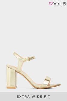 Yours Block Heeled Sandal In Extra Wide Fit