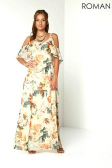Roman Oriental Cold Shoulder Chiffon Maxi Dress