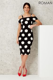 Roman Polka Dot Bardot Dress