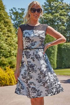 Roman Floral Print Fit and Flare Dress