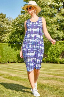 Roman Tie Dye Print Pocket Cocoon Dress