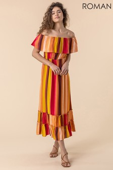 Roman Striped Ruffle Bardot Maxi Dress