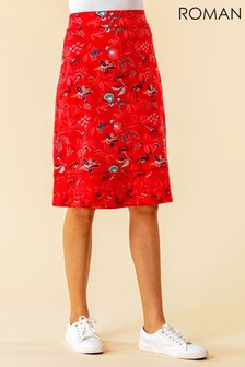 Roman A Line Leaf Print Contrast Skirt