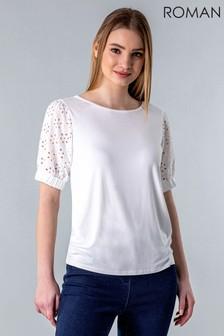 Roman Broderie Puff Sleeve T-Shirt