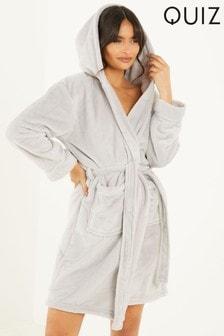Quiz Grey Fleece Hooded Robe