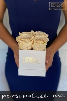 Personalised Year Lasting Real Roses 4 Piece Blossom Box by Eternal Blossom
