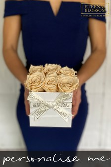 Personalised Year Lasting Real Roses 6 Piece Blossom Box by Eternal Blossom