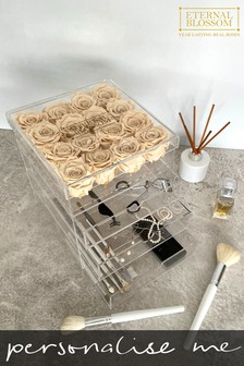 Personalised Year Lasting Real Roses 16 Piece Makeup Box by Eternal Blossom