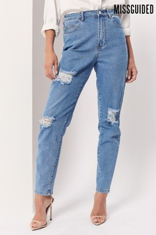 Missguided Ripped Comfort Stretch Mom Jean