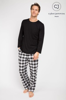 Cyberjammies Checked Pant And Long Sleeve Round Neck Pocket Tee