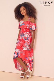 Lipsy Tier High Low Maxi Jersey Dress