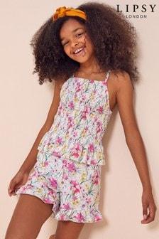 Lipsy Teen Shirred Top and Skirt Set
