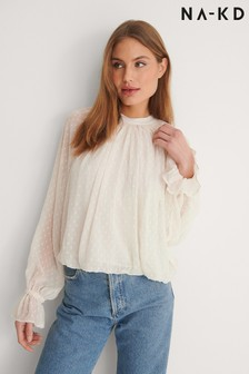 NA-KD Volume Dobby Blouse
