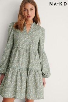 NA-KD Long Sleeve Printed Smock Dress