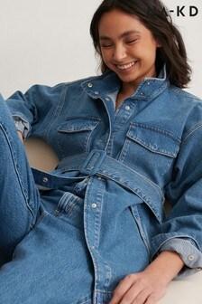 NA-KD Organic Belted Oversized Denim Jacket