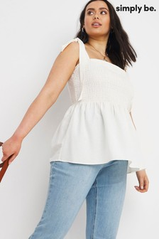 Simply Be Shirred Linen Tie Strap Top