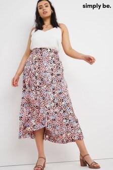 Simply Be Satin Frill Midi Skirt
