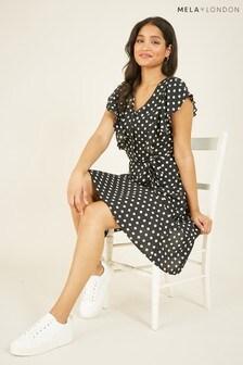 Mela London Polka Dot Button Midi Dress
