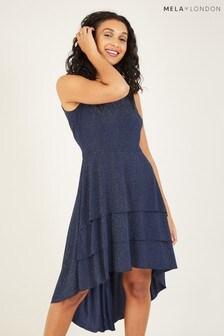 Mela London Ruffle Asymmetric Dress