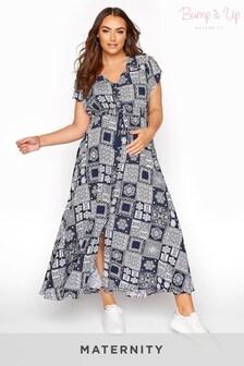 Bump It Up Maternity Tile Print Maxi Dress