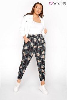 Yours Crinkle Viscose Harem Ethnic Stripe Floral Trouser