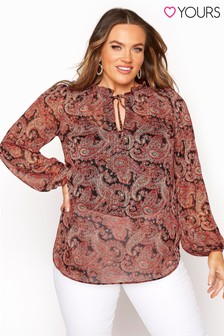 Yours Tie Frill Neck Blouse Chain Print