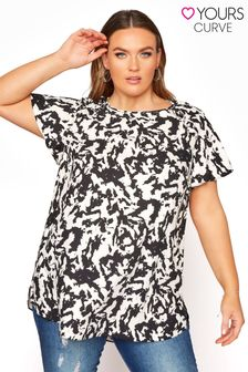 Yours Frill Shoulder Short Sleeve Blouse Abstract