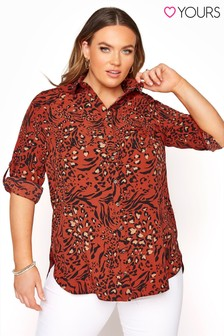 Yours 3/4 Sleeve Longline Shirt Animal